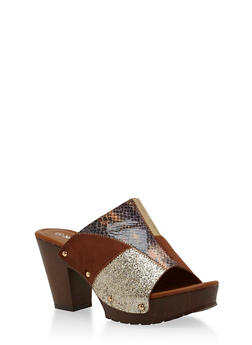 Patchwork Chunky Heeled Mule Slides - 1110057198470