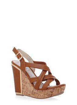 Criss Cross Wedge Heels with Cork Platform - 1110068265878