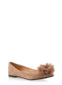 Pointed Flats with Pom Pom Detail - TAUPE - 1110068753684