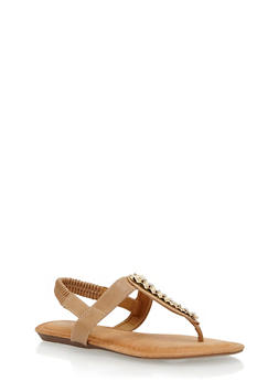 Faux Leather Thong Sandals with Metal Accent - 1110070402256
