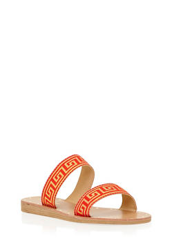 Embroidered Double Strap Slides - 1110070404366