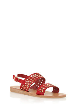 Rhinestone Cutout Double Strap Sandals - 1110070404368