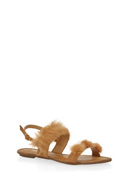 Faux Fur Double Strap Slingback Sandals - 1110070405464