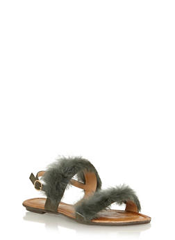 Faux Fur Strap Sandals - OLIVE - 1110070405465