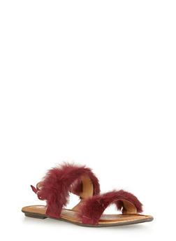 Faux Fur Strap Sandals - BURGUNDY - 1110070405465