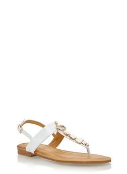 Metal Square Detail Thong Sandal - WHITE - 1110070406420
