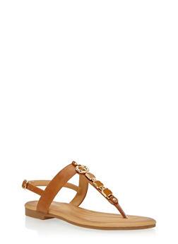 Metal Square Detail Thong Sandal - TAN - 1110070406420