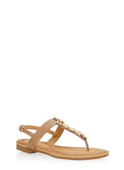 Metal Square Detail Thong Sandal - TAUPE - 1110070406420