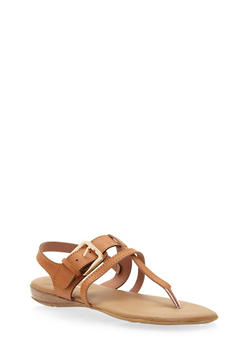 Faux Leather Strappy Buckle Thong Sandals - 1110070407664