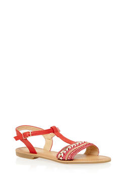Embroidered T Strap Sandals - 1110070408260