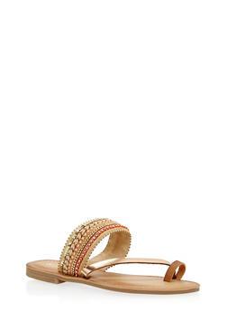 Sequined Beaded Toe Ring Slide Sandals - TAN - 1110070408261