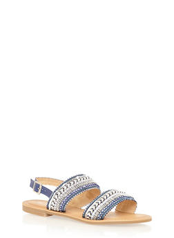 Embroidered Double Strap Sandals - 1110070408263