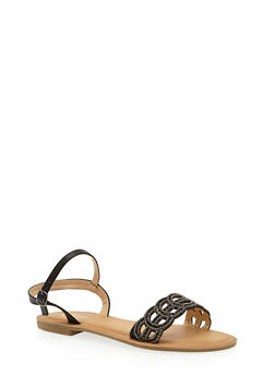 Beaded Lasercut Flat Sandals - 1110070408265
