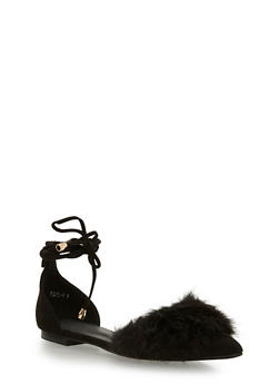 Faux Fur Pointed Toe Lace Up Flats - BLACK - 1110070963463