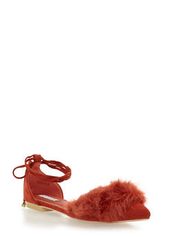 Faux Fur Pointed Toe Lace Up Flats - RUST - 1110070963463