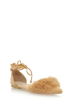 Faux Fur Pointed Toe Lace Up Flats - NUDE - 1110070963463