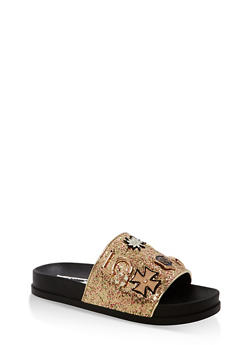 Glitter Slides with Metallic Detail - GOLD - 1110070966649