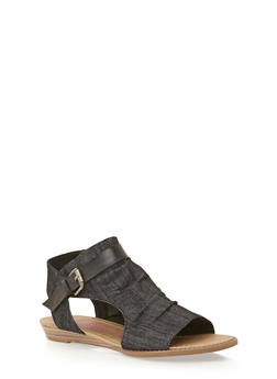 Hooded Cutout Sandals - BLACK DENIM - 1110073326421