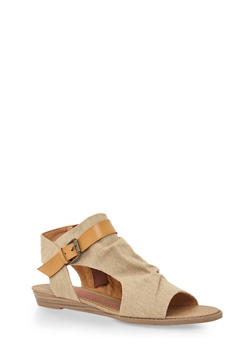 Hooded Cutout Sandals - BARK DENIM/DESERT SAND - 1110073326421