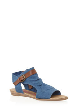 Hooded Cutout Sandals - BLUE DENIM - 1110073326421