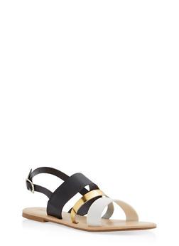 Triple Strap Slingback Sandals - BLACK - 1110073542102