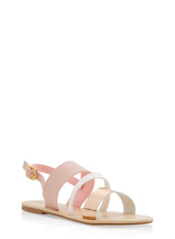 Triple Strap Slingback Sandals - PINK - 1110073542102