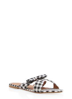 Gingham Print Bow Slide Sandals - BLACK - 1110073542104