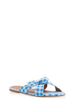 Gingham Print Bow Slide Sandals - SKY BLUE - 1110073542104