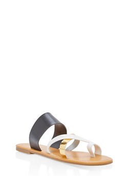 Toe Ring Slide Sandals - BLACK - 1110073542105