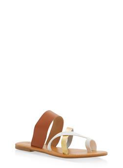 Toe Ring Slide Sandals - TAN - 1110073542105