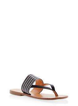 Thick Rhinestone Strap Thong Sandals - BLACK - 1110073542109