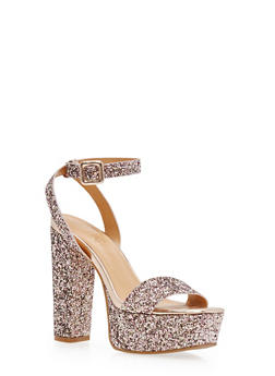 Ankle Strap Glitter High Heel Platform Sandals - 1111004062362