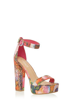 Platform Sandals with Chunky Ankle Straps - 1111004062999