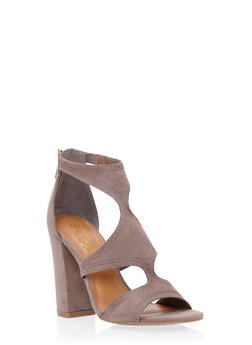 Open Toe Sandals with Chunky Heels - 1111004063626