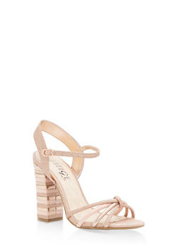 Strappy High Heel Sandals - ROSE GOLD MULTI - 1111004063628