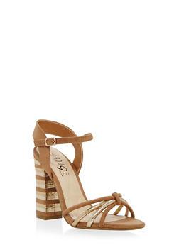 Strappy High Heel Sandals - TAN MULTI - 1111004063628