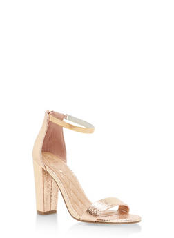 Ankle Strap Block High Heel Sandals - ROSE GOLD CMF - 1111004063748