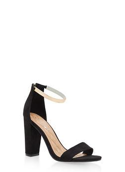 Ankle Strap Block High Heel Sandals - BLACK F/S - 1111004063748