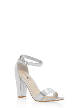 Metallic Textured Ankle Strap High Heels - SILVER CMF - 1111004063750