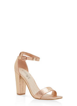 Metallic Textured Ankle Strap High Heels - ROSE GOLD CMF - 1111004063750