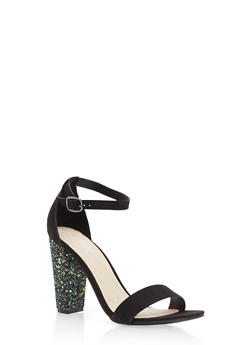 Metallic Textured Ankle Strap High Heels - BLACK F/S - 1111004063750