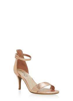 Metallic Mid Heel Ankle Strap Sandals - 1111004064281