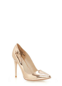 Pointed Toe Stilettos - ROSE GOLD PATENT - 1111004064424