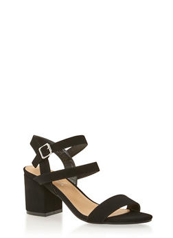 Multi Strap Sandals with Chunky Heels - 1111004064442