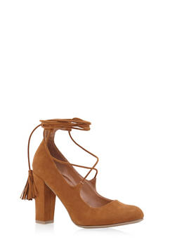Lace Up Block Heel Pumps - 1111004064461