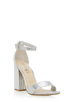 Studded Block Heel Ankle Strap Pumps - SILVER CMF - 1111004064635
