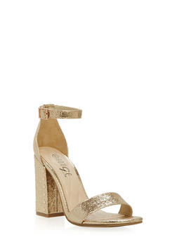 Studded Block Heel Ankle Strap Pumps - GOLD CMF - 1111004064635