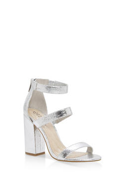 Metallic Ankle Strap Block Heel Pumps - SILVER CMF - 1111004064636