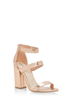 Metallic Ankle Strap Block Heel Pumps - ROSE GOLD CMF - 1111004064636