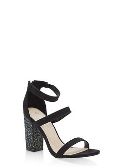 Metallic Ankle Strap Block Heel Pumps - BLACK F/S - 1111004064636